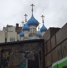 Domes of the Russian Orthodox Cathedral of the Most Holy Trinity; San Telmo, Buenos Aires