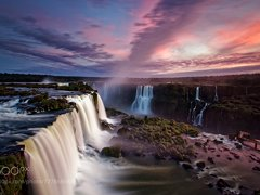 Dusk over Iguassu Falls, Brazil