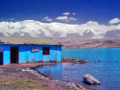 Blue shed, Karakul Lake, Xinjiang, China