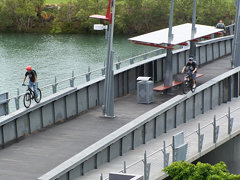 Riding across Victoria Bridge