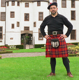 Oliver kilted in Dudhope Castle