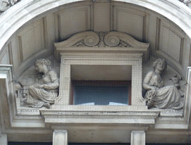 statues, geometry, mathematics, City of London School, Blackfriars, Embankment, EC4