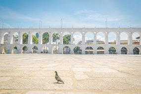 Landmark white arches of Arcos da Lapa