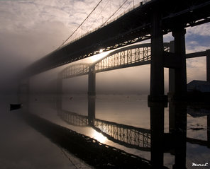 Misty Bridge Reflection