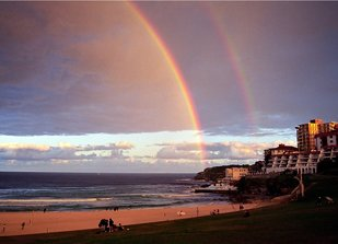 Double rainbow at Bondi Beach