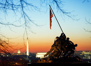 The U.S Marine Corps Memorial and the Washington Skyline at Dawn