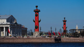 Old Saint Petersburg Stock Exchange and Rostral Columns>