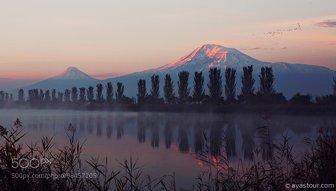 Biblical mount Ararat at sunrise