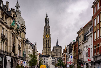 Antwerp - Street Scene with Cathedral of Our Lady