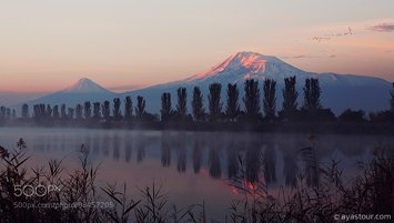 Biblical mount Ararat at sunrise