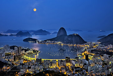 Super Moon in the blue hour Rio de Janeiro