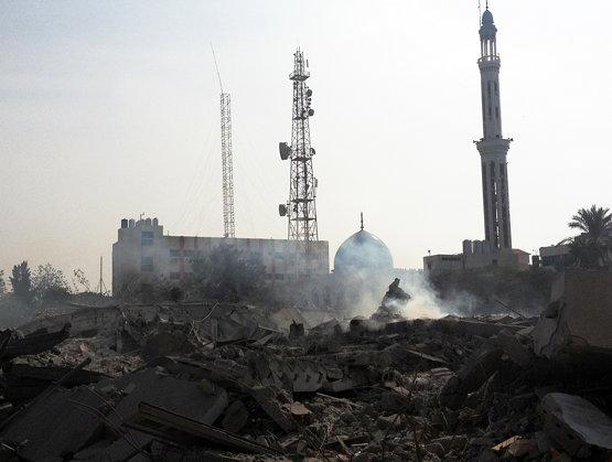 Ruins of the Abu Khadra complex for civil adminstration following an Israeli airstrike on Gaza City.