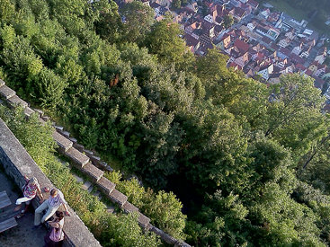 Looking down from the tower at Helfenstein Castle