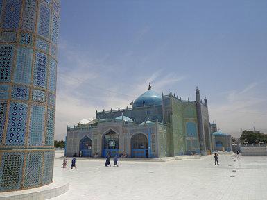 Shrine of Hazrat Ali,  Blue Mosque, Mazar-i-Sharif midday, Afghanistan
