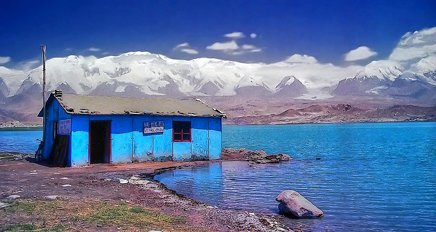 Blue shed, Karakul Lake, Xinjiang, China