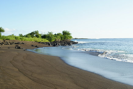 Black beach, Floreana, Galapagos Islands