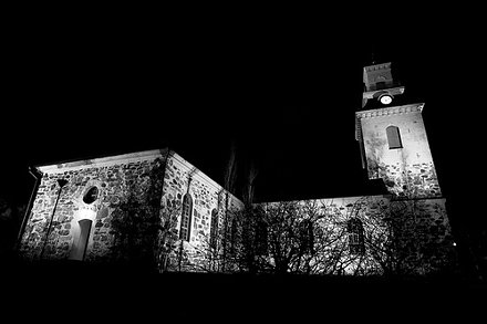 Kuopio Cathedral at Night B&W