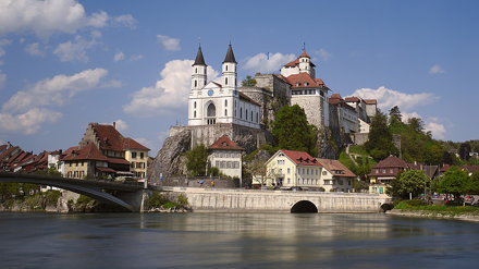 Aarburg castle and vortex in Aare river
