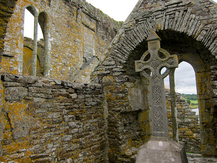 celtic cross in the ruins of Timoleague abbey