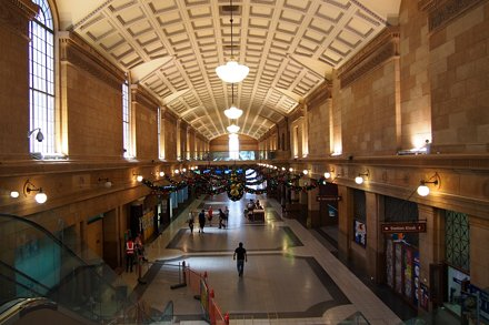 Adelaide Station hall decorated for Christmas