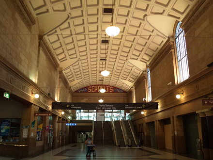 Adelaide Railway Station which now houses the Casino as well.  Seppelts advert on end of main concou