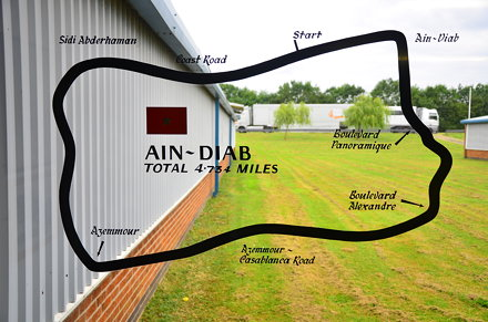 Map of the Ain-Diab circuit, home of the Moroccan Grand Prix, at Donington