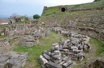 The Hellenistic theate, located on a natural south-facing hillside, in the 4th century AD repairs we