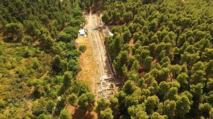 Aerial drone photo of ancient Amfiareion, Attica