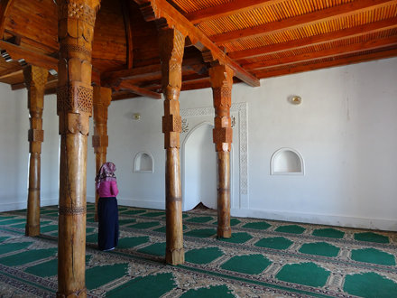 A girl prays inside the Arystan-bab Mausoleum near Otyrar in south Kazakhstan.