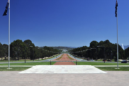 Looking down Anzac Parade