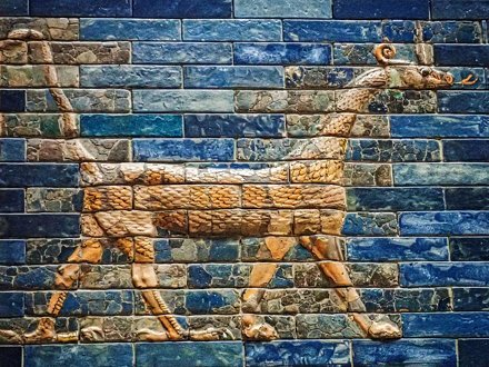 A mušḫuššu, the sacred animal of the Mesopotamian god Marduk on the Ishtar Gate of Babylon reconstru