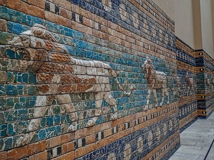 Lions along the processional way leading to the Ishtar Gate of Babylon reconstructed from original b