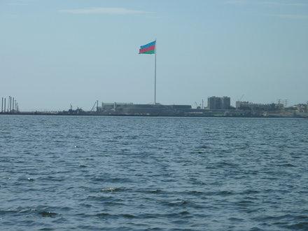 View from Baku's pier across to the giant Azerbaijan flag