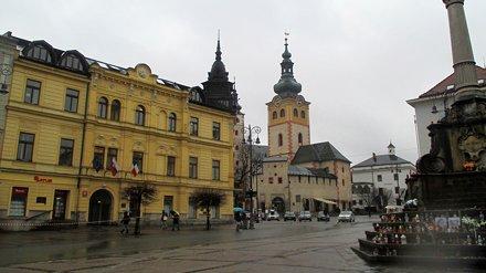 Pohled na hrad Banská Bystrica z náměstí SNP