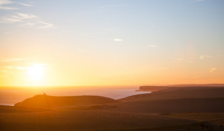 Sunset over Seven Sisters Cliffs, East Sussex, England