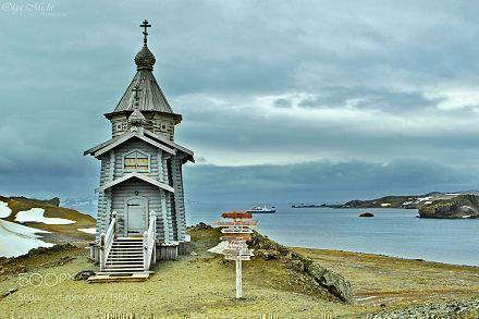 Orthodox church. Bellingshausen island. King George island. Antarctica.