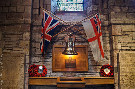 The bell from HMS Royal Oak in St. Magnus Cathedral