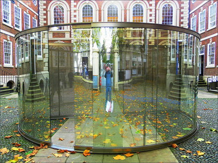 Exhibition :Bluecoat Chambers,Liverpool : 2-Way Mirror Cylinder Bisected By Perforated Stainless Ste