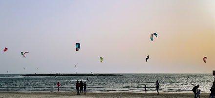 Kiteboarding at sunset