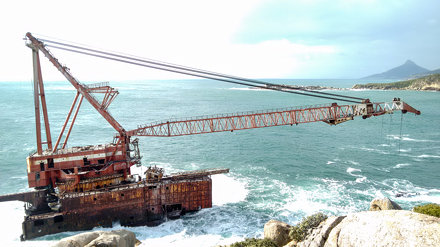 Shipwreck of the BOS 400 in Hout Bay near Cape Town