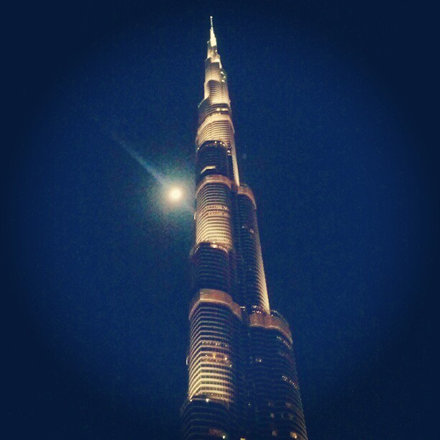 clear sky's with full moon tonight in #Dubai #BurjKhalifa #Skyscraper #City