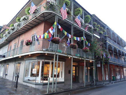 Decorated French Quarter balconies