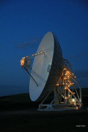 Sardinia Radio Telescope by night