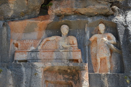 The Çanakçı rock tombs, a man reclining on a couch (left) and a soldier holding a lance (right), Kan