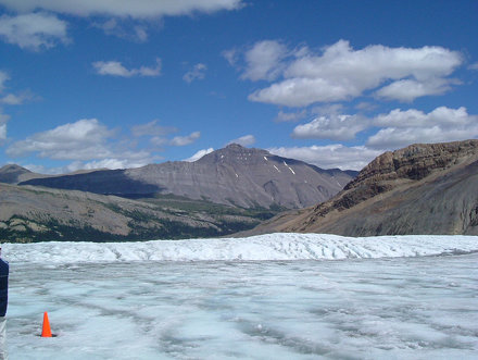 Athabasca glacier and surrounding mountains