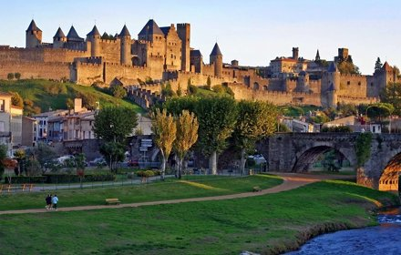 The Walls Of Carcassonne After Sunset