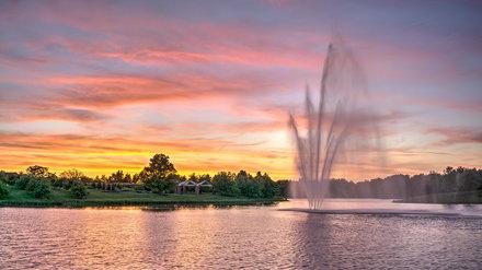 Waterfountain Sunset at Chicago Botanic Garden