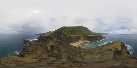 Halona beach cove, blowhole lookout and Koko Crater -a 360 degree Equirectangular VR