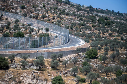 Cremisan Valley near Bethlehem with separation wall