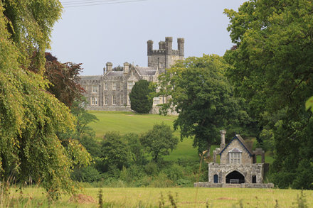 Crom Castle and The  Castle Boathouse along Upper Lough Erne